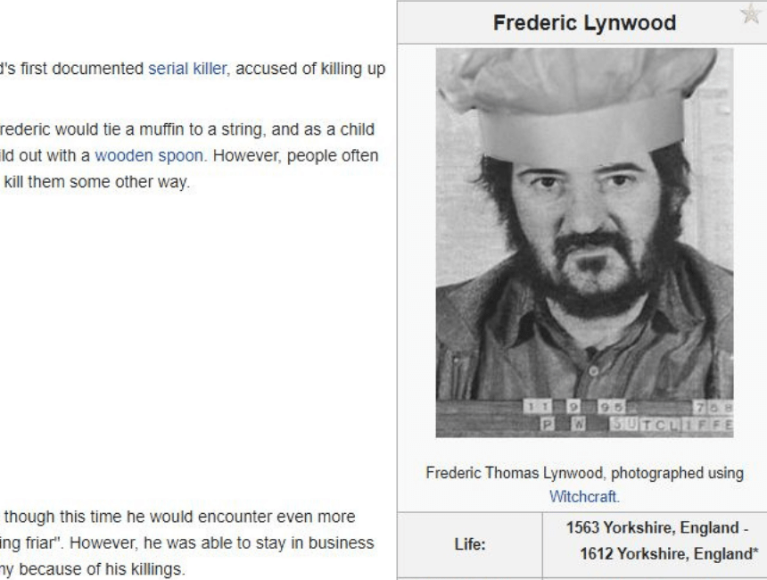 Screenshot of Frederic Lynwood taken using Witchcraft from the spoof Wiki site.
