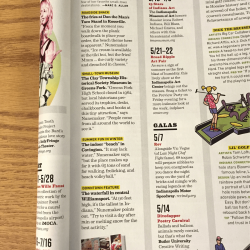"""Indianapolis Monthly """"Little Indiana"""" Blurb"""