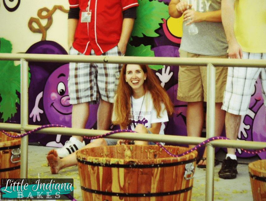 stomping grapes in a grape festival as  compared to kneading dough with your feet