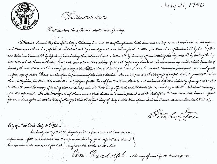 Patent for pot ash