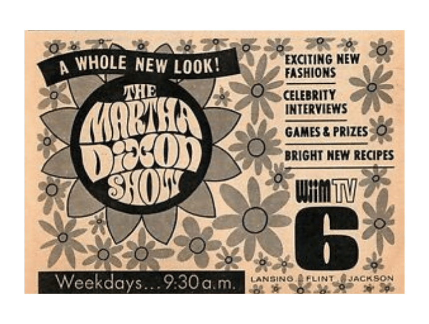 Vintage 1970s ad featuring the Martha Dixon Show on WJIM-TV, Channel 6, in Michigan.